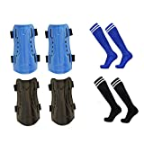 CDOFFICE 2 Pair Youth Child Soccer Shin Guards with 2 Pair Long Sleeve