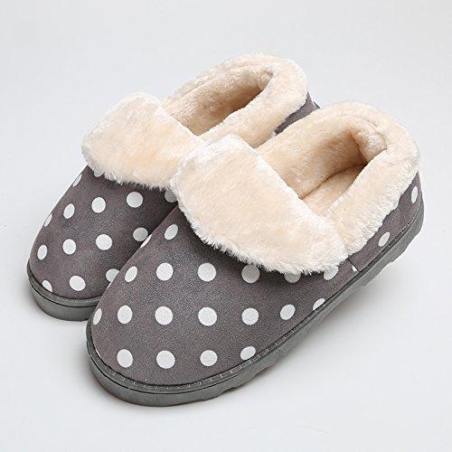 Y-Hui Autunno e Inverno il cotone pantofole in pelle gli amanti della femmina in piscina calda borsa con slittamento metà Casa Arredamento ispessimento scarpe di fondo Polka Dot gray