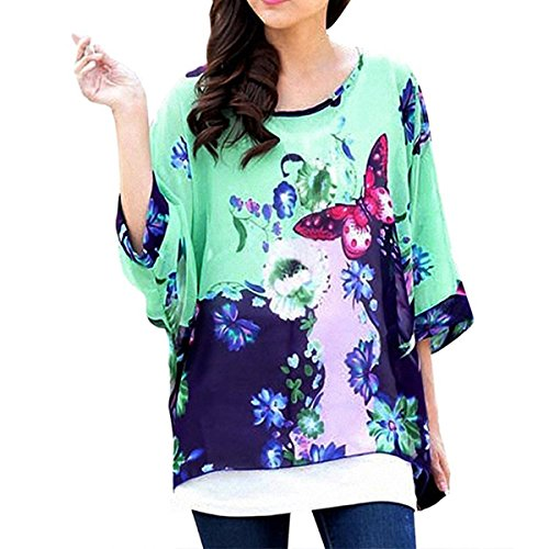 QQI Donna Bohemian Stampa Floral Camicetta 3/4 Sleeve Chiffon Blouse Off Shoulder Tunica Batwing T-shirt Tops color31