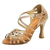 HIPPOSEUS Mujeres Salón de Baile Latino Zapatos Rhinestones Suela de Ante,ESQ-CYL357,Bronce...