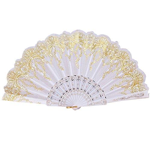 Andouy Retro Faltfächer/Handfächer/Papierfächer/Federfächer/Sandelholz Fan/Bambusfächer für Hochzeit, Party, - Otter Kostüm Muster