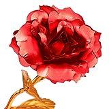 Rose 24K vergoldet Rose Blume mit Geschenk-Box Beste Geschenk für Valentinstag Muttertag Weihnachten Geburtstag Golden/Rot/Lila/Blau - rot -