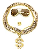 Panelize Babo LUDE Macho prolethen Hiphop Rapper Sets 4 hasta 5 Piezas Cadenas Gafas Anillo