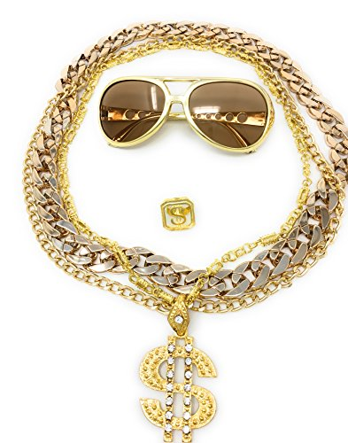 Party Kostüm Hip 90er Jahre Hop - BABO Lude Macho Prolethen Hiphop Rapper Sets 4 bis 5 teilig Ketten Brille Ring (Rockstarbrille-Dollarkette)