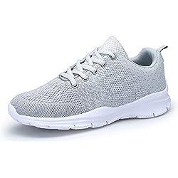 DAFENP Zapatos Zapatillas de Trail Running Deporte Mujer Sneakers para Correr en Montaña Asfalto Aire Libre Unisex,XZ747-M-gray-EU38