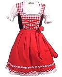 Trachtenkleid 3tlg. Kinder Dirndl Mädchen Kleid Gr. 92,104,116,128,140,146,152, Rot Weis Kariert, 140