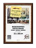 3-B Bilderrahmen BARI RUSTIKAL - dunkel braun - 21x30 cm - Holzrahmen, Fotorahmen, Portraitrahmen mit Plexiglas