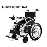 Y&QD Silla de Ruedas eléctrica Completamente automática Inteligente - Plegable Portátil Old Man Portable Disabled Old Scooter Batería de Litio 12Ah, Negro,12ah