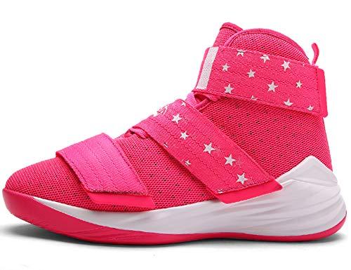 GNEDIAE Herren GNE007 High-Top Basketball Schuhe Outdoor Anti-Rutsch Sneaker Atmungsaktiv Ausbildung Turnschuhe Sportschuhe Laufeschuhe Verschleißfeste Dämpfung Basketballstiefel Pink 46 EU