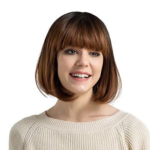 (CXQBLONDE EINHORN 12 Zoll Synthetische Bob Kurze Gerade Haar Perücke Dunkle Wurzel Ombre Brown Volle Gefälschte Haar Perücken für Frauen Freies Verschiffen)