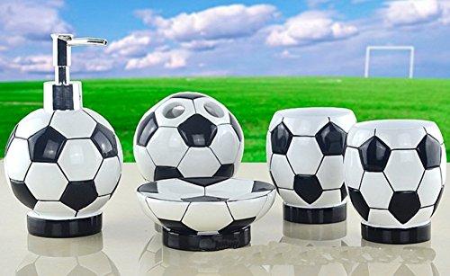hongs-creative-design-di-calcio-5-piece-set-di-accessori-da-bagno-portaspazzolini-dispenser-di-sapon