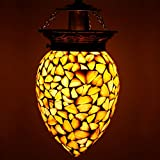 #4: Earthenmetal handcrafted sea shells decorated white glass hanging light