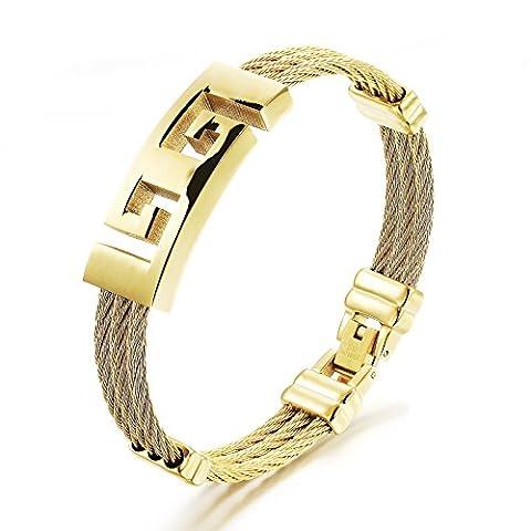 Fille Era masculin Style Doré moderne 3-strands Titane Acier Bracelets de sports
