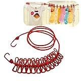 EJBOTH Wäscheleine Seil mit 12 Klipps