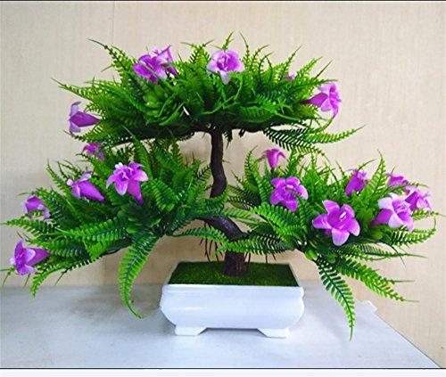artificial Bonsái Bonsai sintético decorativo Artificial flor de la planta con Potted Decoración tabla sala estar afortunada Feng Shui Decorativa árboles floración , #34