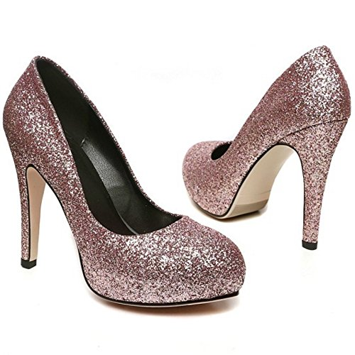 COOLCEPT Femmes Mode Slip On Court Shoes Bout Ferme Escarpins Talon Aiguille Shiny Mariage Chaussures Or Rose Rouge