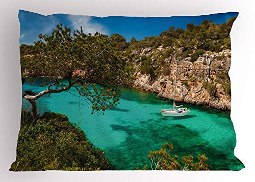 Wamnu Nature Pillow Sham, Small Yacht Floating in Sea Majorca Spain Rocky Hills Forest Trees Scenic View, Decorative Standard Queen Size Printed Pillowcase, 30 X 20 inches, Green Aqua Blue -