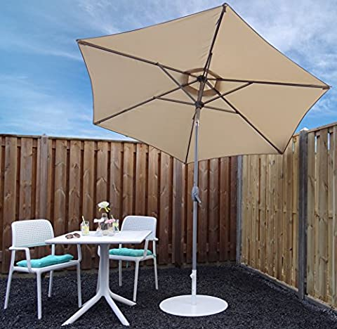 Parasol Jardin | Beige / Sable | Ø 270 cm | Rond | SORARA - INTI | Polyester 180 g/m² (UV 50+)| Commande à Manivelle (Pied