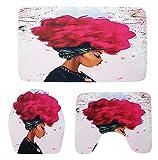Gnzoe Flanell 3 Pcs Toilettenmatte/Teppich-Set Sprengende Hauptfrau Muster Design Teppiche Set für Badezimmer Rose 75x45CM