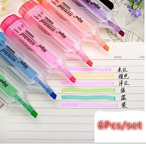 Hacoly 6 Stücke Candy Farbe Textmarker Keilspitze, Spitze, Entfernen von Reibung, Eiscreme Fluorescent Stift Filzstift Highlighter mit großem Tintenspeicher für Gebrauch Verschiedenes Karten Papier