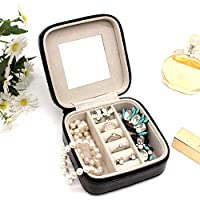 DRHYSFSA-Home Jewellery Box Organiser PU Jewelry Jewelry Box Jewelry Box Portable Travel Black Creative Jewelry Watch Storage Box With Mirror And Ring Display for Girl