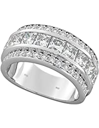 925 Sterling Silver Half Eternity Created Diamonds Ladies Wedding Engagement Band Ring