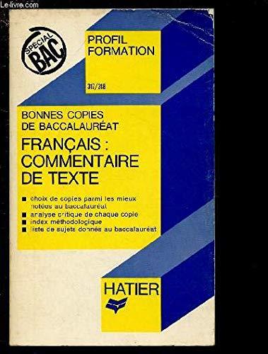 Bonnes copies de bac, français: commentaire de texte