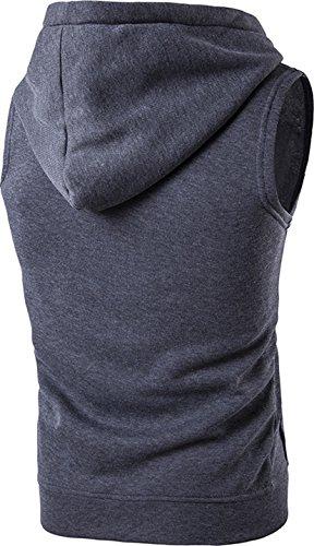 Sportides Herren Freizeit Fashion Weste Hoodie Sleevesless Sweatshirt Dress Shirts Weste Top JZA002 JZA001_DarkGray