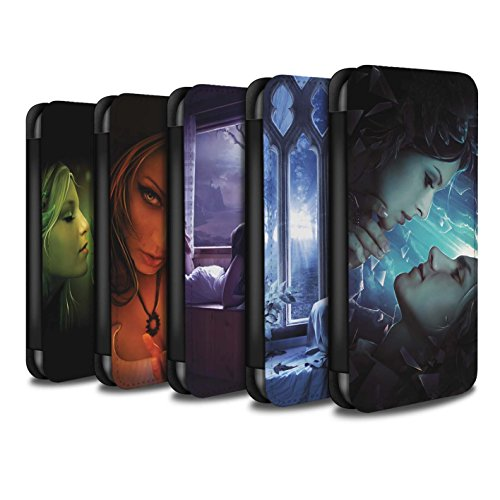 Officiel Elena Dudina Coque/Etui/Housse Cuir PU Case/Cover pour Apple iPhone 6S / Coeur flamboyant Design / Art Amour Collection Pack 7pcs