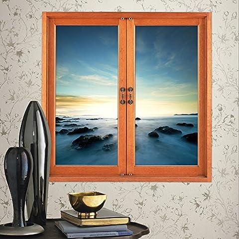 WEIAN3D da parete finestra adesivi finestra griglia Finestra di emulazione tridimensionali (nuvole al tramonto) studio soggiorno camera da letto anche pittura decorativa ad alta definizione tre dimensionale adesivo da parete, 58 * 58cm-58 * 58cm