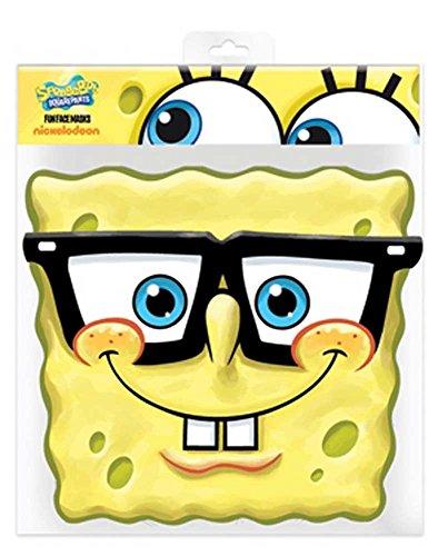 (Spongebob Specs - Papp Maske, aus hochwertigem Glanzkarton mit Augenlöchern, Gummiband - Grösse ca. 30x20 cm)