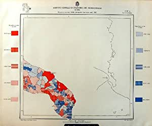 Propiété De La Terre de Cagliari de 1933 de Carte Statistiques de l'Italie