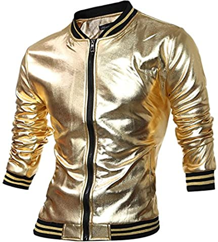 Jeansian Hommes Casual Mode Manteaux et Blousons Men's Bling Shiny Stand-Up Collar Sport Jacket Coat Outwear Top 88G7 Golden XS(M)