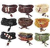 YADOCA 9 Pcs Mala Bracelet 108 Perles en Bois de Santal Naturel Collier/Bracelet Bouddhistes Chakra pour Homme Femme