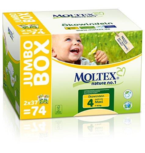 MOLTEX Nature no.1, Größe 4, 7-18kg, Ökowindel Maxi Jumbo, 74 Stück