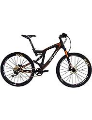 "BEIOU Carbon Dual Suspension Mountain Bicycles Todo terreno 27.5 pulgadas MTB 650B Bicicleta SHIMANO DEORE 10 velocidades 12.7kg T700 marco mate 3K CB22 (naranja, 18"")"