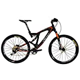 BEIOU Carbon Double Suspension Mountain Bicycles All Terrain 27.5 Pouces MTB 650B Vélo SHIMANO DEORE 10 Vitesses 12.7kg T700 Cadre Matte 3K CB22 (Orange, 18')