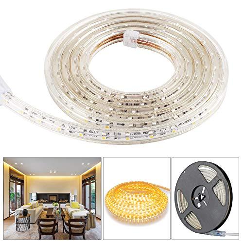 5050 SMD LED Stripes,Lichterkette,Band,Streifen,LED Leiste,LED Lichtleiste,LED Bänder,Lichterkette LED,Warmweiß 230V IP65 LED Band mit Stecker 2M Warmweiß