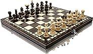 Häpnadsväckande PEARL 35cm / 13,8in populär europeisk träschackuppsättning! Handgjorda bitar och schackbräde a