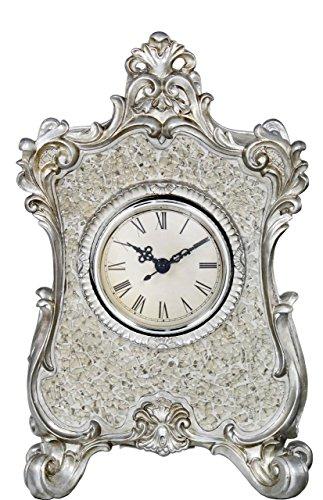 Big Living Lille Mercury Sparkle Mosaic Table Clock Mercury Filigree Frame