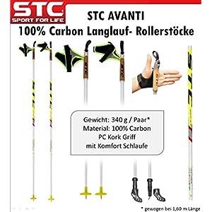 STC Avanti White 100% Carbon Langlaufstock Skating Roller Stöcke Rollski Skiroller Stöcke Skike