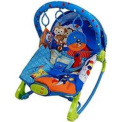 Care Bleu Circus à bascule Fauteuil à bascule Transat musical mélodies apaisante vibrations bébé Rebondir Fauteuil inclinable avec 3jouets à suspendre.
