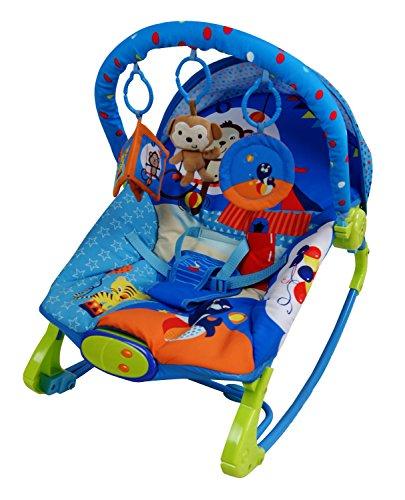 Care blau Circus Rocker Schaukelstuhl Bouncer Musical Melodien Beruhigende Vibration Baby Bouncing Liegestuhl mit 3hängende Spielzeuge. (Swing Bouncer Baby Und)