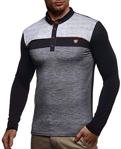 LEIF NELSON Herren Polo-Shirt Langarmshirt Slim Fit Baumwolle-Anteil | Basic Männer Longsleeve Pulli weißes Sweatshirt Poloshirt | Pullover T-Shirt Langarm | LN4805 Schwarz Medium - Baumwolle Langarm Jumper