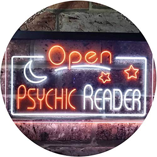 ADVPRO Psychic Reader Open Moon Star Room Décor Dual Color LED Barlicht Neonlicht Lichtwerbung Neon Sign White & Orange 300mm x 210mm st6s32-i3204-wo
