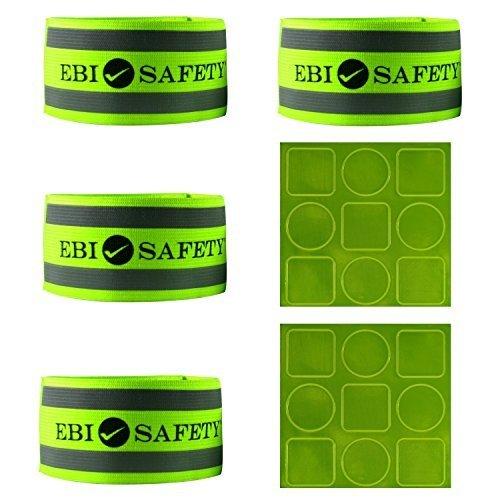Reflektierende Knöchel Band Set (4Bands/2Paar) + Reflektor Aufkleber. Hohe Sichtbarkeit Sicherheit Gear/Sport...