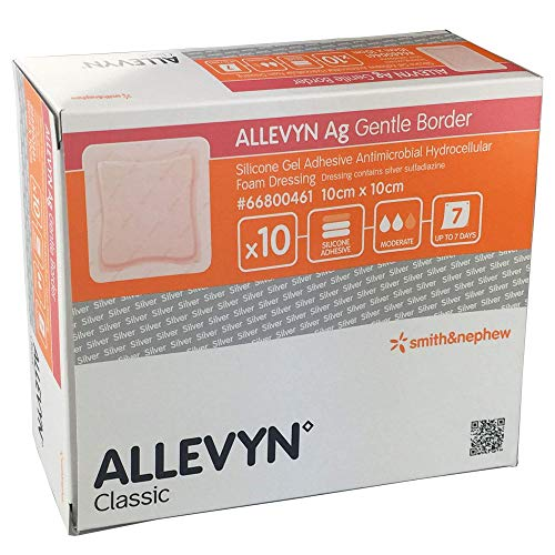 Ag-dressing (Allevyn AG Gentle Border Silver Dressings 10cm x 10cm (Pack of 10))