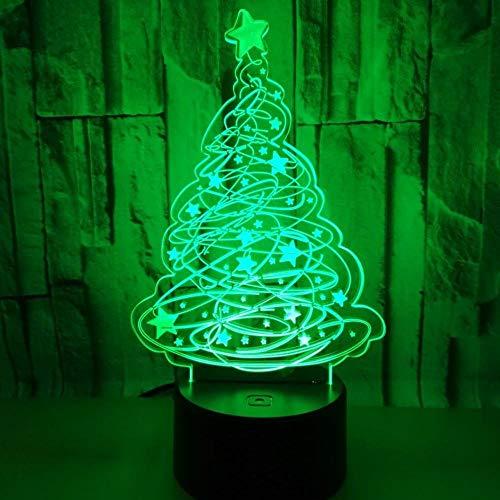 KXKY 3D Nachtlicht Weihnachten 3D Beleuchtet Sieben Farben Note 3D LED Beleuchtet Kreative Kleine Tischlampen Des Weihnachtsbaum-3D