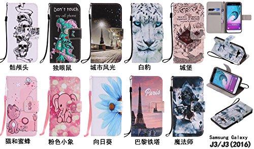 PU Coque Galaxy J3 J310 (2016) SM-J320F, Multifonction Case Wallet Cover Etui en cuir Étui de protection flip Wallet stand Cover avec des fentes de cartes pour Samsung Galaxy J3 J310 (2016) SM-J320F +Bouchons de poussière (10EE)