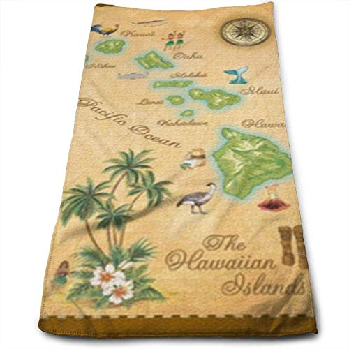 2530d736ee Hawaiian Islands Map Multi-Purpose Microfiber Towel Ultra Compact Super  Absorbent And Fast Drying Sports